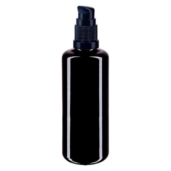Violettglasflasche 100ml mit Pumpverschluss schwarz