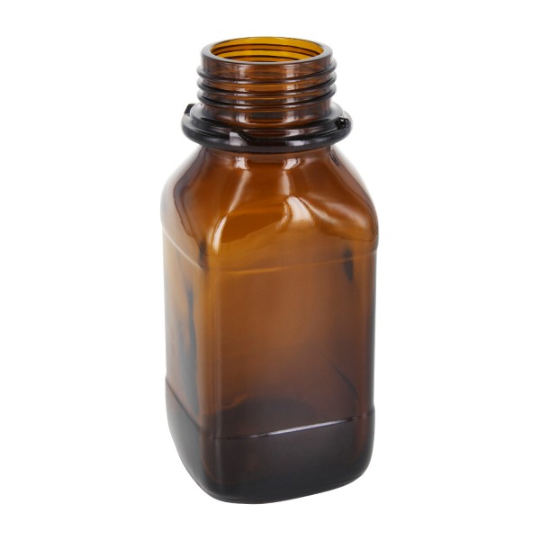 250 ml quadratische Weithalsflasche (Chemikalienflasche) Braunglas mit DIN 45 (Raster Kranz) Mündung