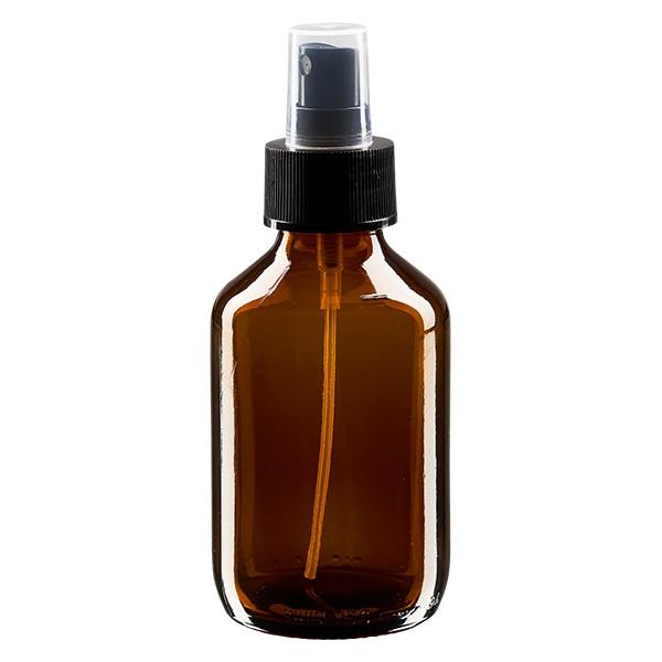 150 ml Euro-Medizinflasche braun mit schwarzem Zerstäuber inkl. transparenter Kappe