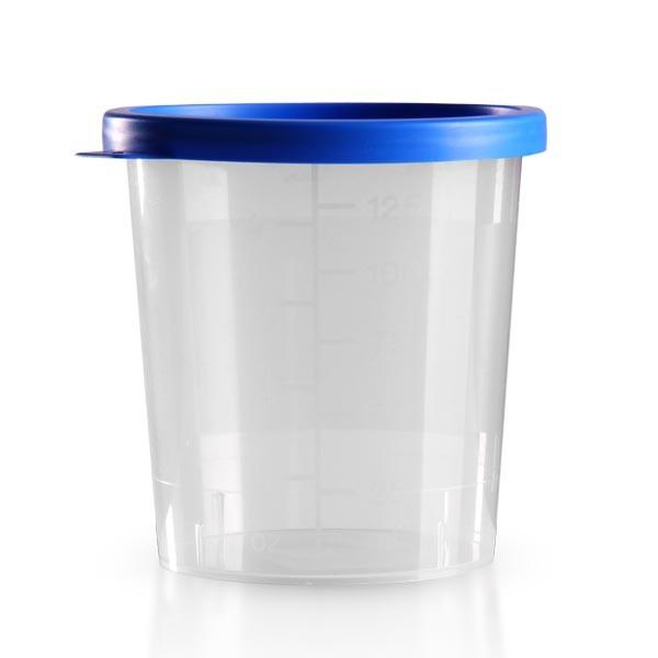 Urinbecher natur 125ml mit blauem Schnappdeckel