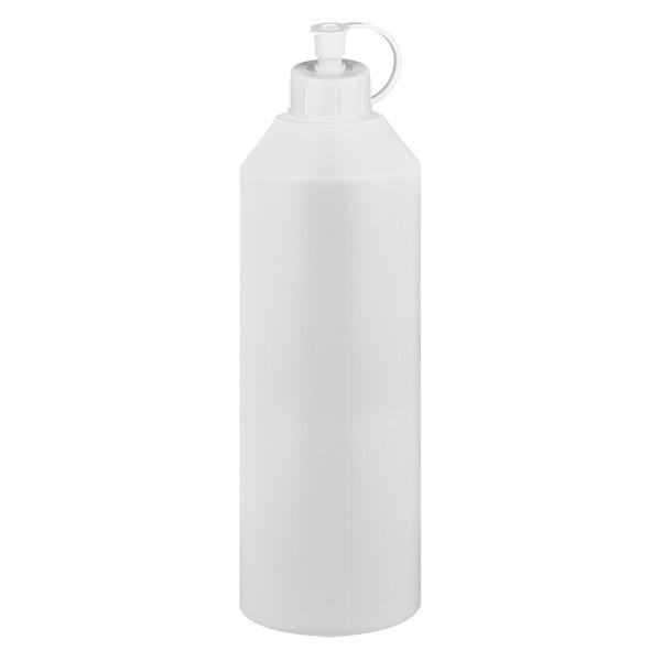 Zylinderflasche HDPE 250ml weiss, S20x3 mit weissem Spritzverschluss