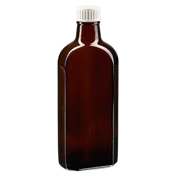 250 ml braune Meplatflasche mit DIN 28 Mündung, inklusive Schraubverschluss OV DIN 28 weiß aus PP mi