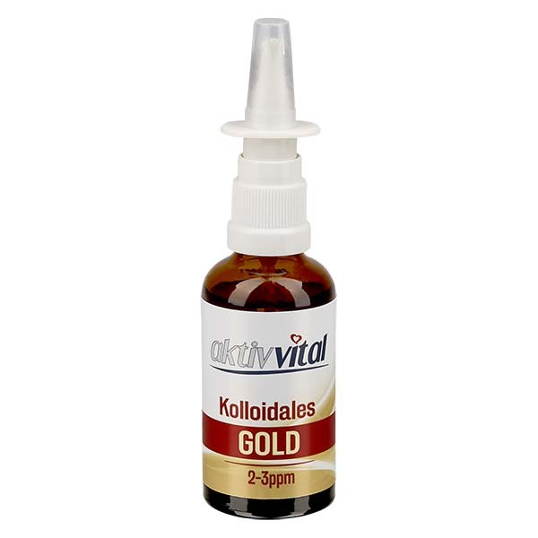 50 ml Kolloidales Gold Aktiv-Vital, 2-3ppm, Braunglasflasche mit Nasenzerstäuber
