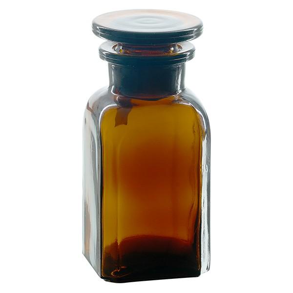 Vierkant-Apothekerflasche 100 ml Weithals Braunglas inkl. Glasstopfen