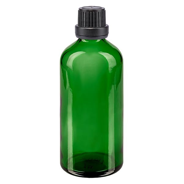 Apothekenfl. grün 100ml Schraubv. schw Dicht OV