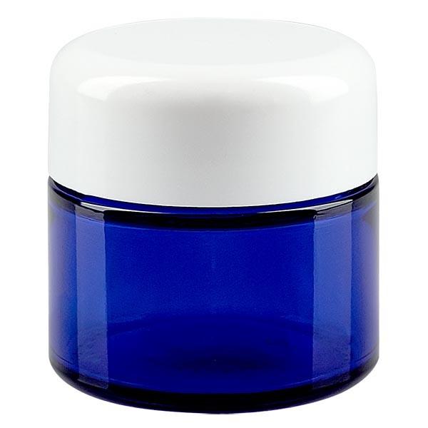 Glastiegel 50ml royalblau, mit weissem Deckel