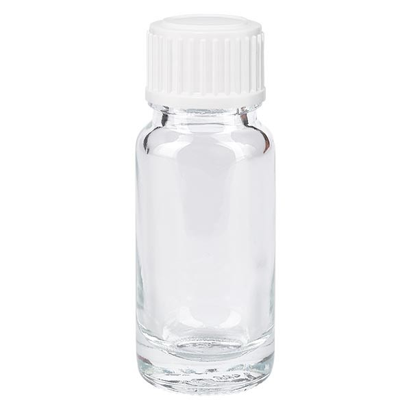 Apothekenflasche klar 10ml Schraubverschluss weiss Standard