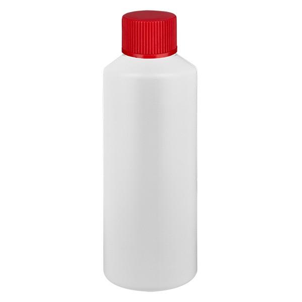 PET Zylinderflasche 75ml weiss, S20x3 mit rotem SV