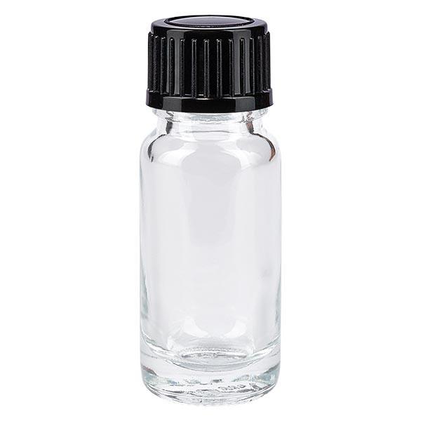 Apothekenflasche klar 10ml Tropfverschluss 1mm schwarz Standard