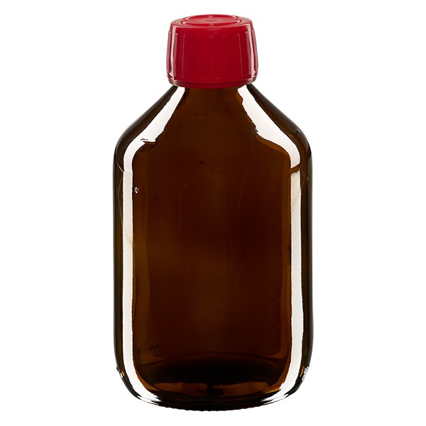 300ml Euro-Medizinflasche braun mit rotem Schraubverschluss OV