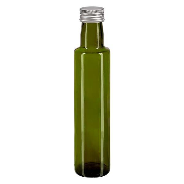 250ml Ölflasche rund Olivgrün inkl. Alu Schraubverschluss Silber (PP 31.5mm)