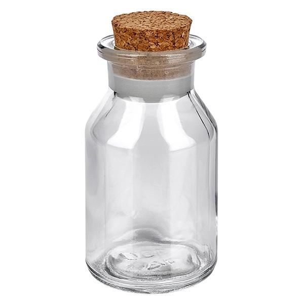 100 ml Steilbrustflasche Weithals Klarglas inkl. Korken