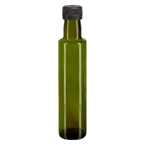 250ml Ölflasche rund Olivgrün inkl. Schraubverschluss Schwarz (PP 31.5mm) mit Ausgiessring OV