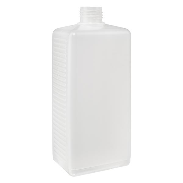 Eckige Flasche 500ml PE natur ND 25, ohne Vers.