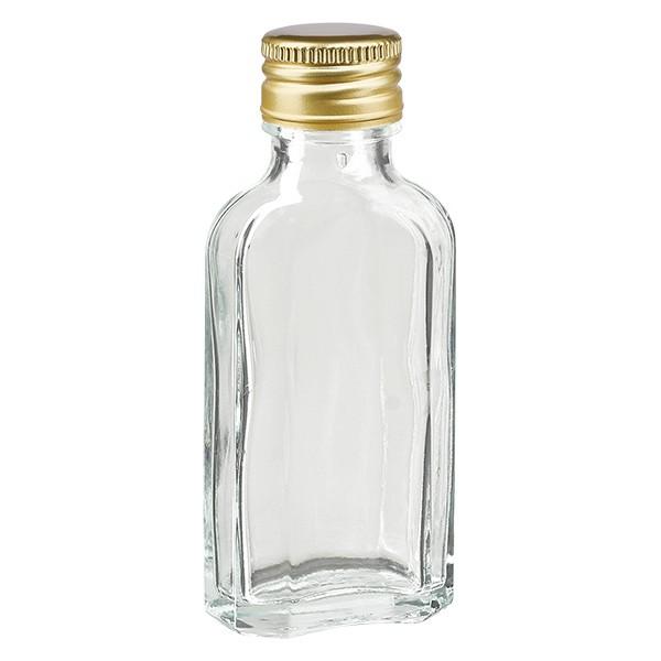 50 ml Meplat klar mit Alu Verschluss gold PP22