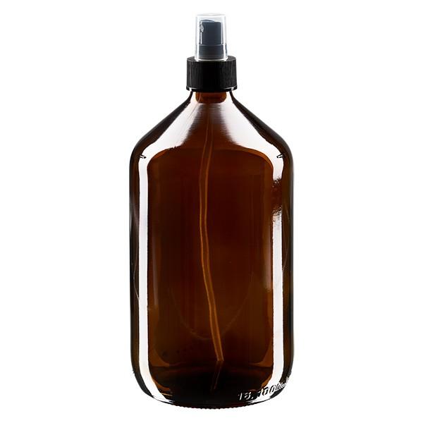 1000 ml Euro-Medizinflasche braun mit schwarzem Zerstäuber inkl. transparenter Kappe