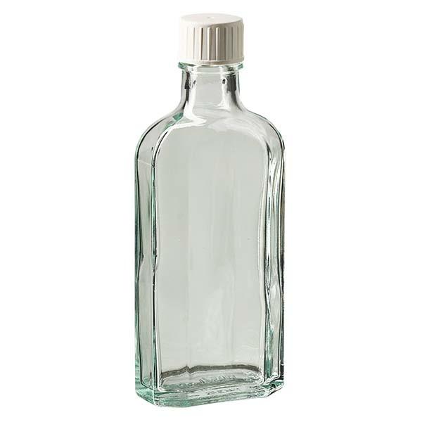 125 ml weiße Meplatflasche mit DIN 22 Mündung, inkl. Schraubverschluss DIN 22 weiss mit Giessring