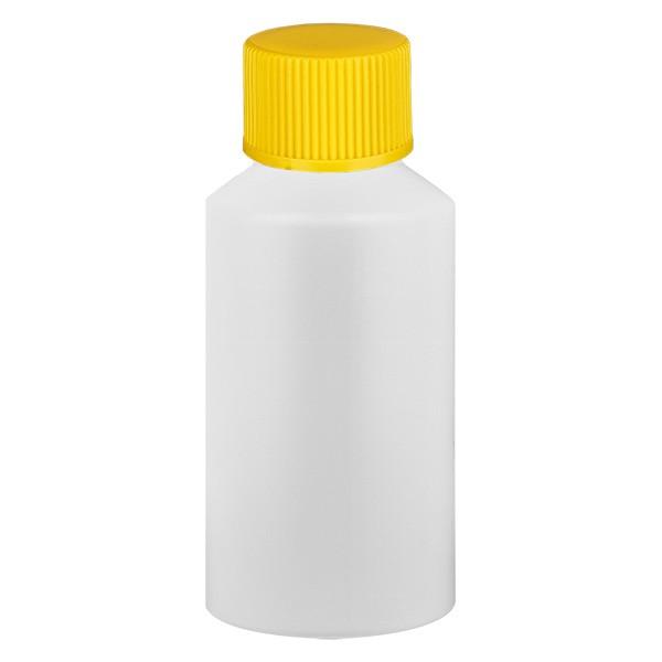 PET Zylinderflasche 50ml weiss, S20x3 mit gelbem SV