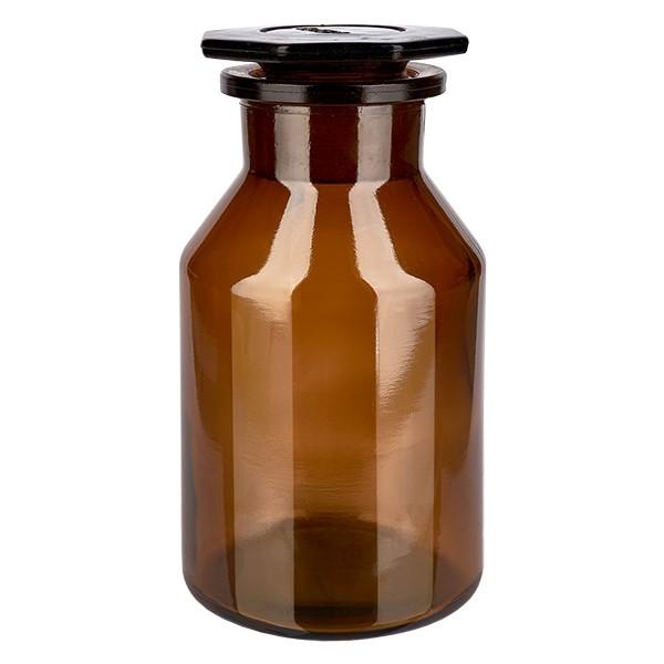 250 ml Steilbrustflasche Weithals Braunglas inkl. Glasstopfen