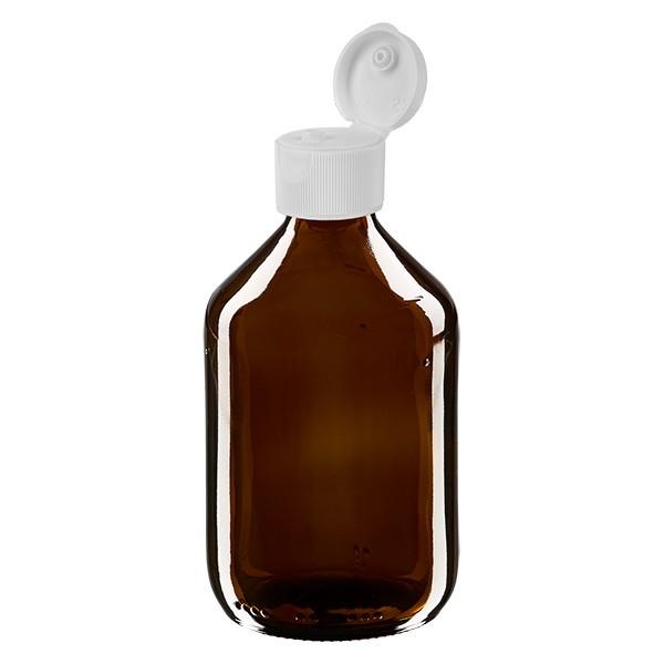 300ml Euro-Medizinflasche braun mit weissem Klappverschluss