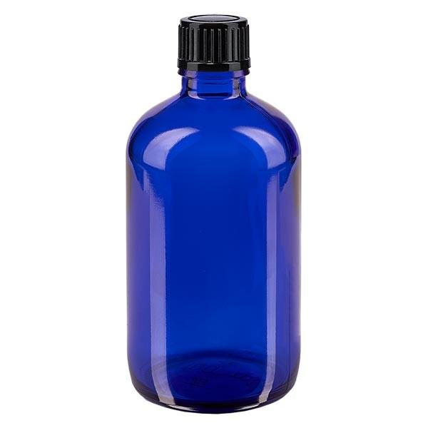 Apothekenfl. blau 100ml Tropfv. 1mm schwarz St