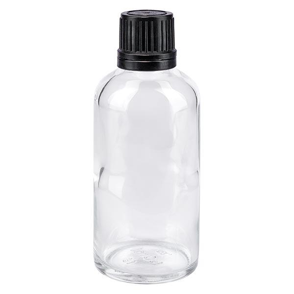 Apothekenflaschen klar 50ml Tropfverschluss Pr. 1mm schwarz OV