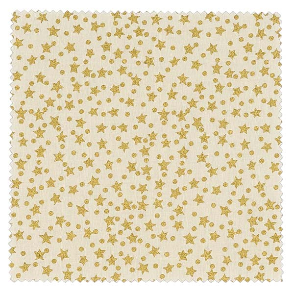 1 x Stoffdeckchen 150x150mm creme/gold-Stern für Deckel Durchmesser 43-100mm