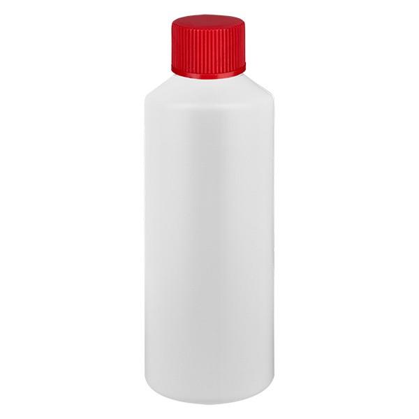 PET Zylinderflasche 100ml weiss, S20x3 mit rotem SV
