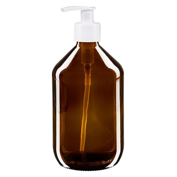500ml Euro-Medizinflasche braun mit weisser Dispenserpumpe