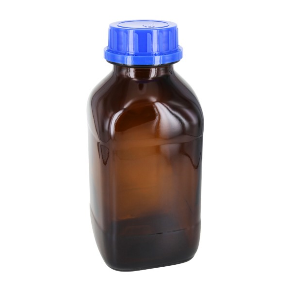 1000 ml quadratische Weithalsflasche Braunglas inkl. Verschluss OV DIN54 blau mit Konusdichtung