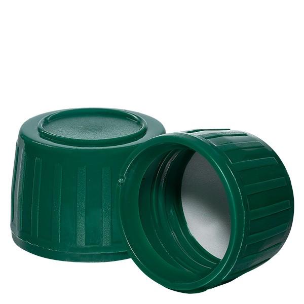 Schraubverschluss grün 28mm für Medizinflaschen (OV) mit EPE-Dichtscheibe