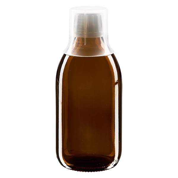 250 ml Euro-Medizinflaschen mit weissem Schraubverschluss und Dosierbecher 30ml