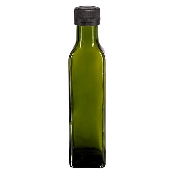 250ml Ölflasche eckig Olivgrün inkl. Schraubverschluss Schwarz (PP 31.5mm) mit Ausgiessring OV