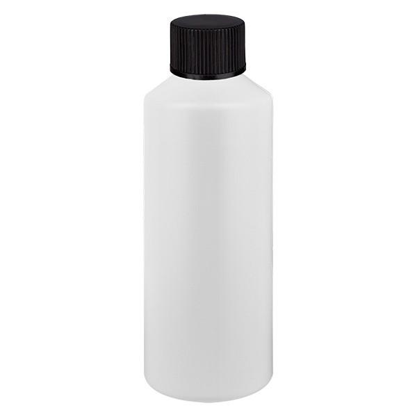 PET Zylinderflasche 100ml weiss, S20x3 mit schwarzem SV