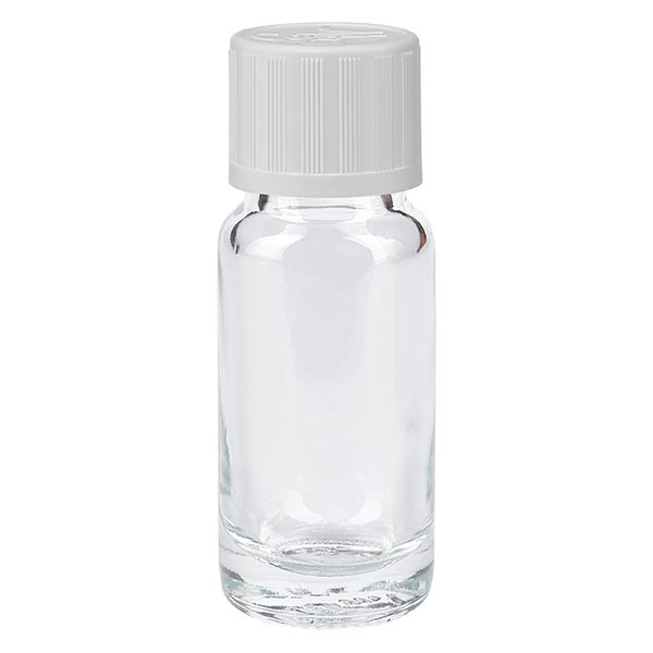Apothekenflasche klar 10ml Schraubverschluss weiss KiSi Standard