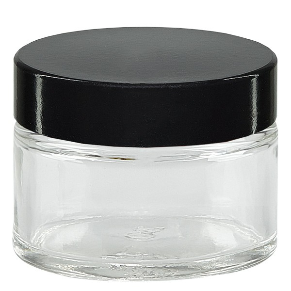 Glastiegel 15ml klar, mit schwarz. Bakelit Deckel