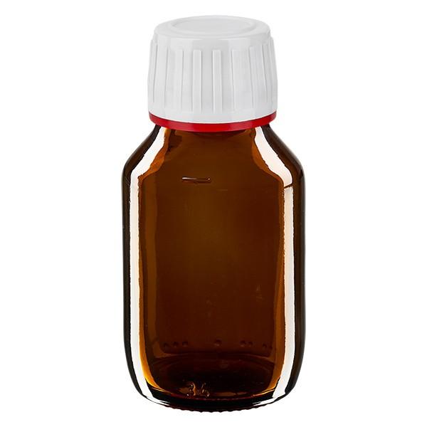 50ml Euro-Medizinflasche braun mit weissem Verschluss