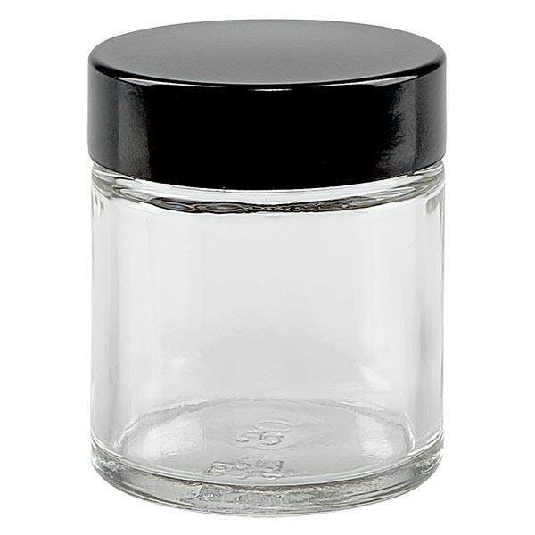 Glastiegel 30ml klar, mit schwarzem Bakelit Deckel