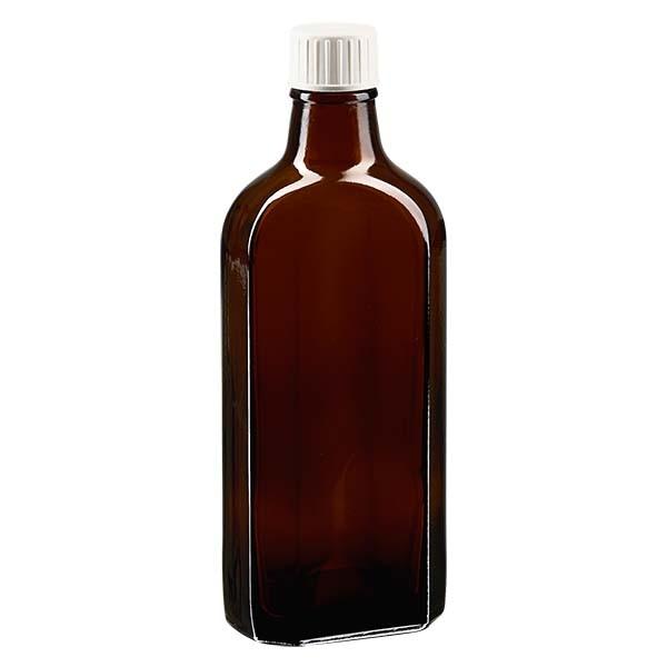 200 ml braune Meplatflasche mit DIN 22 Mündung, inkl. Verschluss weiss aus PP mit PE-Schaumeinlage