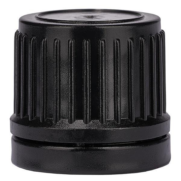 Schraubverschluss, schwarz, DIN18, mit OV