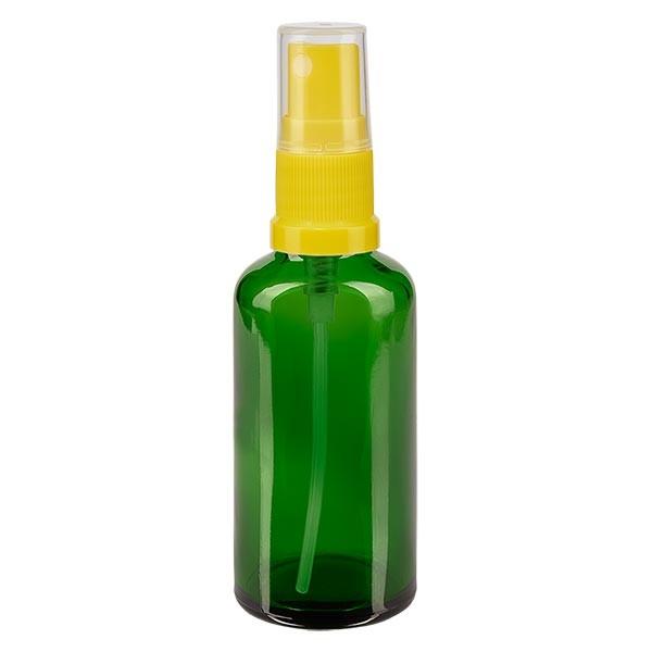 Grünglasflasche 50ml mit Pumpzerstäuber gelb