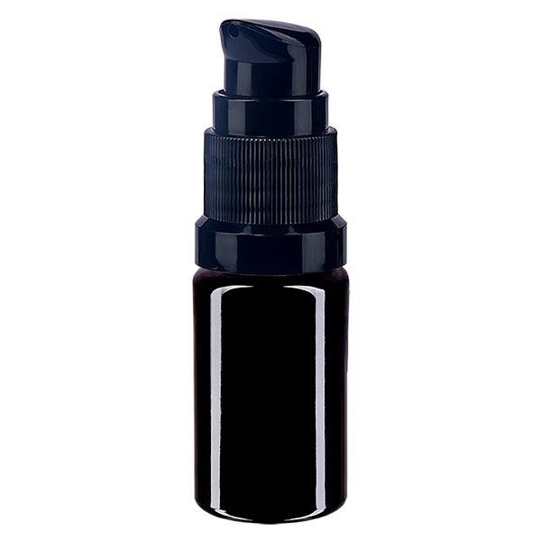 Violettglasflasche 5ml mit Pumpverschluss schwarz