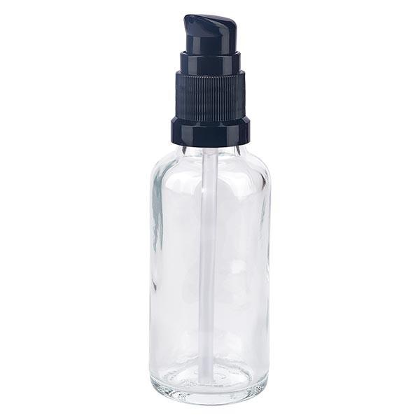 Klarglasflasche 30ml mit Pumpverschluss schwarz