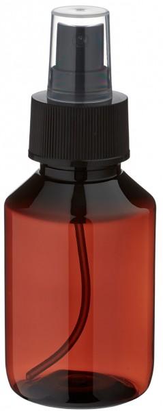 100 ml PET Medizinflasche mit Zerstäuber schwarz GCMI 28/410 inkl. Kappe transparent, Standard