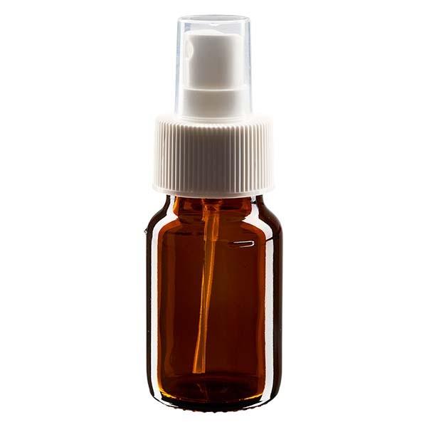 30 ml Euro-Medizinflasche braun mit weissem Zerstäuber inkl. transparenter Kappe
