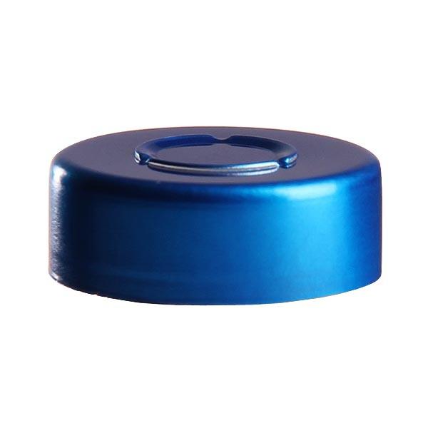 Bördelkappe 20,25 x 7,40 mm Blau mit Mittel-Abriss