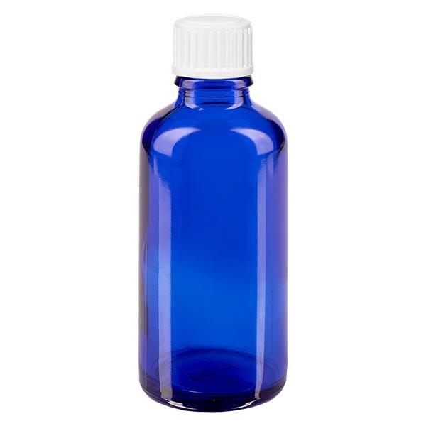 Apothekenfl. blau 50ml Tropfv. weiss 0.8mm St
