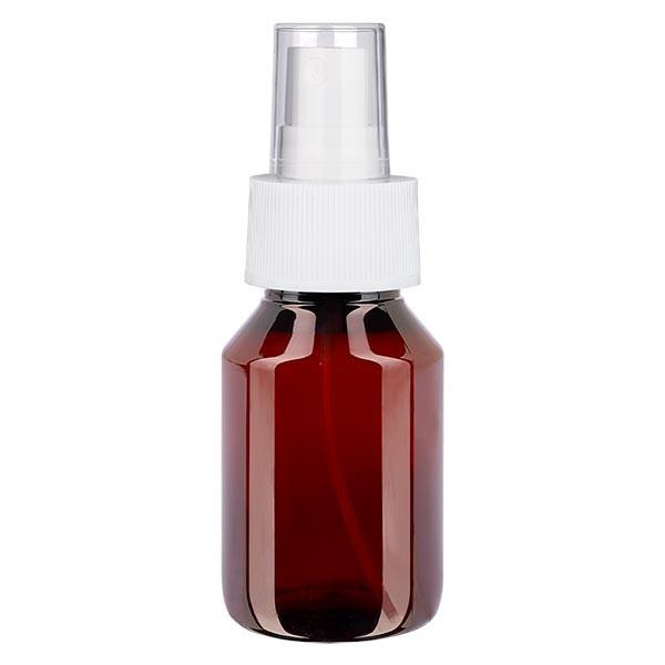 50 ml PET Medizinflasche mit Zerstäuber weiß GCMI 28/410 inkl. Kappe transparent, Standard