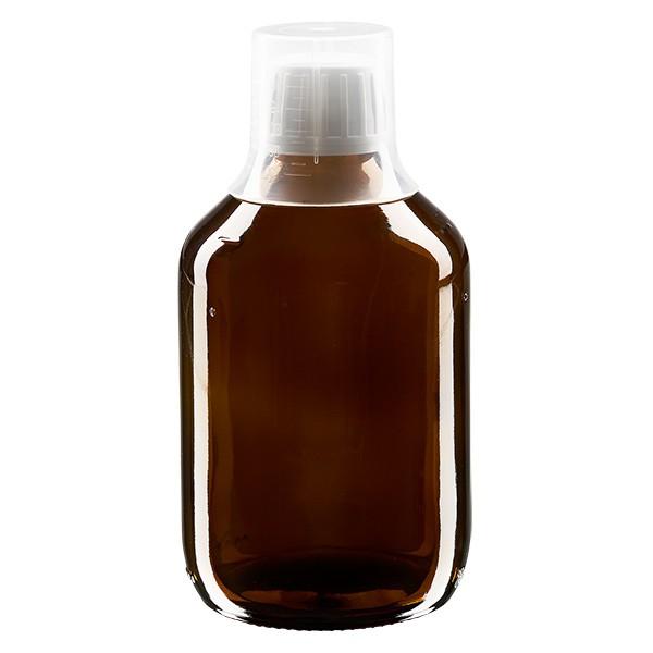 300 ml Euro-Medizinflaschen mit weissem Schraubverschluss und Dosierbecher 30ml