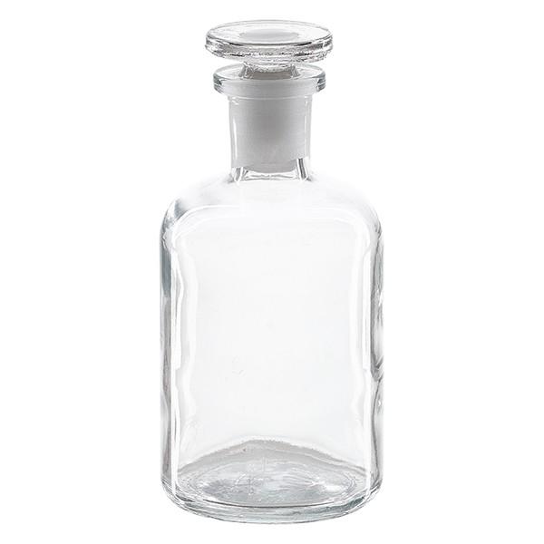 Apothekerflasche 100 ml Enghals Klarglas inkl. Glasstopfen